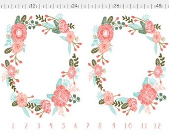Gorgeous TWIN Floral Wreath Milestone Blanket, Baby Milestone Blanket for Newborn Baby Girls,  Baby Shower Gift, Newborn Photography Set