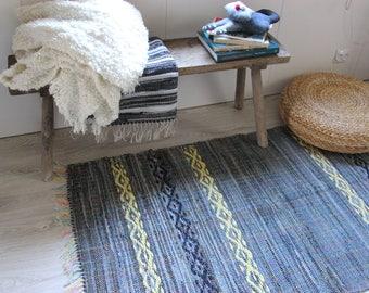 "Handmade Denim Woven Rug With Yellow Tracery , Denim Rug , Woven Loom Rug , Floor Rugs , Durable Recycled Denim Rug , 69""x36"" , Country"
