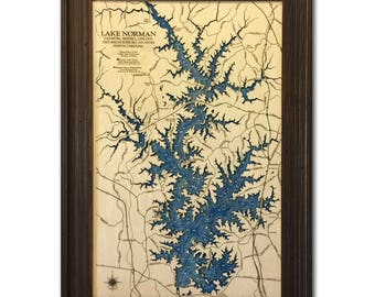 Lake Norman Dimensional Wood Carved Depth Contour Map - Customize With Your Home Information