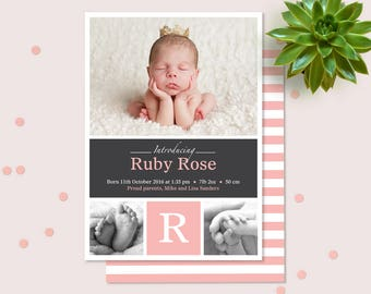 Baby Girl Birth Announcement (Digital File) - I customise for you to print. Pink and Grey Multiple photo card. Personalised with photo.
