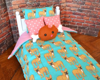 French bulldog doll bedding, 18 inch doll bedding, doll bedding for American Girl, felt meat
