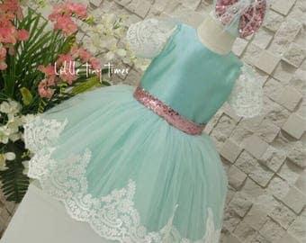 Flower girl dress, Mint flower girl dress,Toddler pageant dress, purple sequin bow dress, mint dress, lace dress