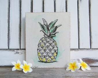 Pineapple Print, Print On Wood, Wood Wall Hanging, Rustic Pineapple Sign, Dorm Decor, Hipster Room Decor, Tropical Decor, Botanical Print
