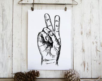 V sign hand poster - Black and white v sign print, Printable wall art,  A4 Art print, Art & collectibles, Teen room decor
