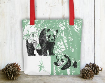 Kids Bag, Shoulder Tote Bag, Panda Gift, Carry All Bag, Green White Bag, Library Bag, Preschool Bag, Beach Bag, Bag For Kids, Gift Under 30