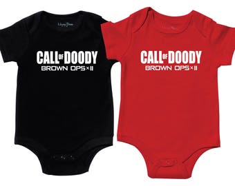 Call of Doody - Set of 2 Baby Twin Shirts - Baby Boy Tshirts - Matching Twin Outfit - Funny Shirts - Twin Boys One Piece- Newborn Twins