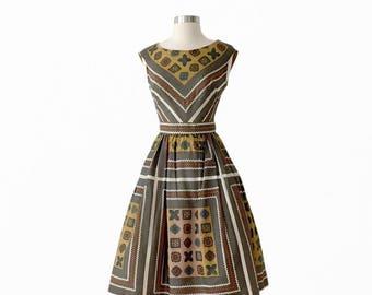 1950s Vintage Day Dress with Crinoline Underskirt