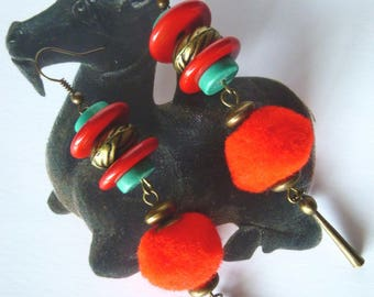 """Earrings Asian style """"Party lanterns"""" bronze metal, red tassel, Howlite natural stone"""