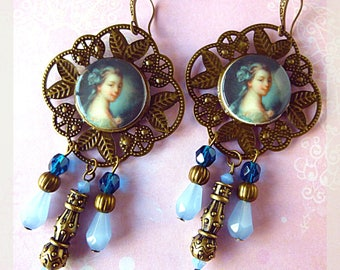 "Romantic earrings ""La Malibran"", porcelain, metal filigree bronze, light blue Czech glass cabochon"