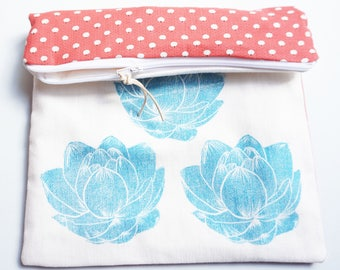 Pocket flaps in printed cotton & linocut turquoise lotus pattern