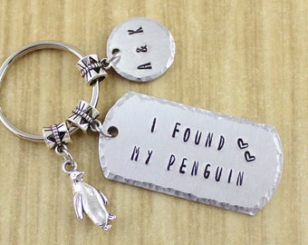 "Engagement Gift I Found My Penguin Keychain - ""Mate For Life"" Penguin Wedding Gift - Penguin Anniversary Gift - Boyfriend Girlfriend Gift"