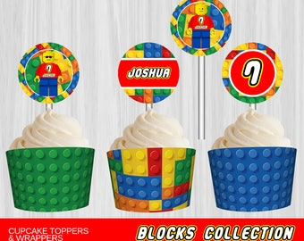 Printable Building Blocks Cupcake Toppers and Wrappers | Personalized