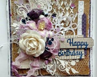 Beautiful Handmade Shabby Chic Purple Happy Birthday Greeting Card #WC2017-21