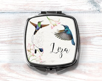 Bridesmaid Compact Mirror, Hummingbird, Personalized Compact, Bridesmaid Gift, Maid of Honor Gift, Stocking Stuffer