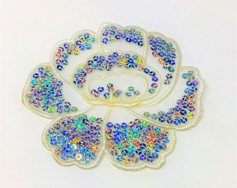 Mother of Pearl Sequins Flower Sew On Applique