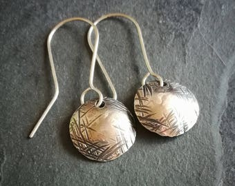 Textured sterling silver domed disc earrings (#0233)