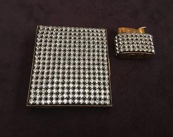 Vintage Trickettes Rhinestone Cigarette Case and Evan Rhinestone Lighter Set 1261