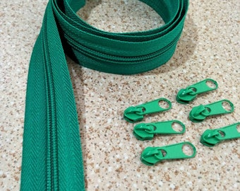 3 Yards  Zipper #5 with Free 6 Pulls, Green Zipper by the Yard, Zipper # 5, Zipper by the Yard, Bags Accessories.