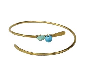 Gold turquoise bracelet, metallic cuff bracelet, beaded thin bangle, adjustable bracelet, brass bangle, women gift under 20, stackable cuff