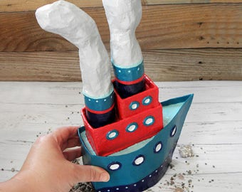 Paper Mache Boat, Boat Sculpture, Paper Boat, Nautical Kids Room Decor, Handmade Sailboat, Boat Decor, Boys Room Decor, Nursery Boat Gift