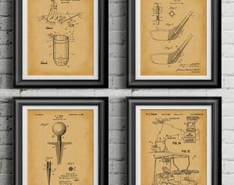 Golf Patent Print Golf Club Print Golf Wall Art Golf Decoration Golf Lovers Gift Golfers Gift Golf Decor Fathers Day Gift Set of 4 PP 2404