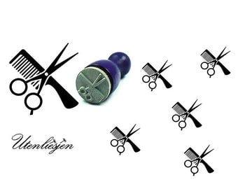 Stamp mini, comb, sissor, hair dresser, rubber stamp Ø 12 mm
