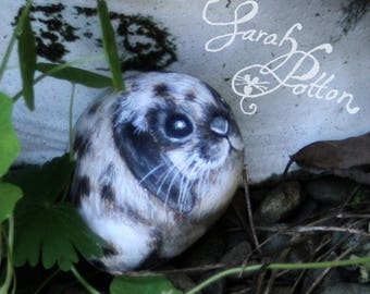 Hand Painted Rock Animal ~ Black and White Spotty Lop Rabbit