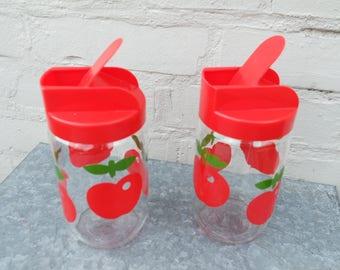 Vintage 70s lot of 2 Henkel red apple glass jars