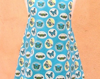 Kids top criss-cross back, butterflies and gingham print percale