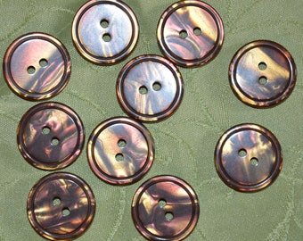 set of 10 Brown fancy buttons