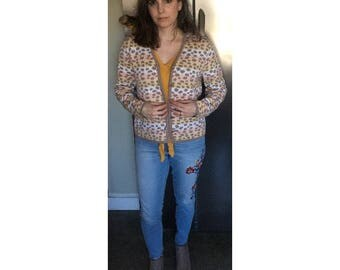 Vintage 70s 80s cardigan, animal print cardigan
