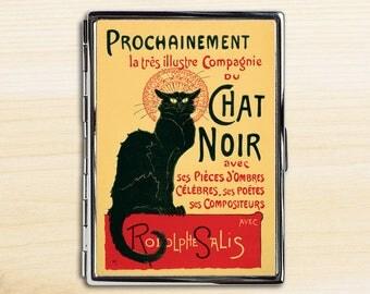 Chat Noir Cigarette Case, Cigarette Holder, Cigarette Case, Metal Cigarette Case, Cigarette Box, Vintage Art, Black Cat, Steinlen