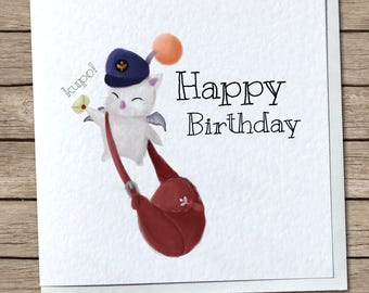 Delivery Moogle Birthday Card - Final Fantasy Themed