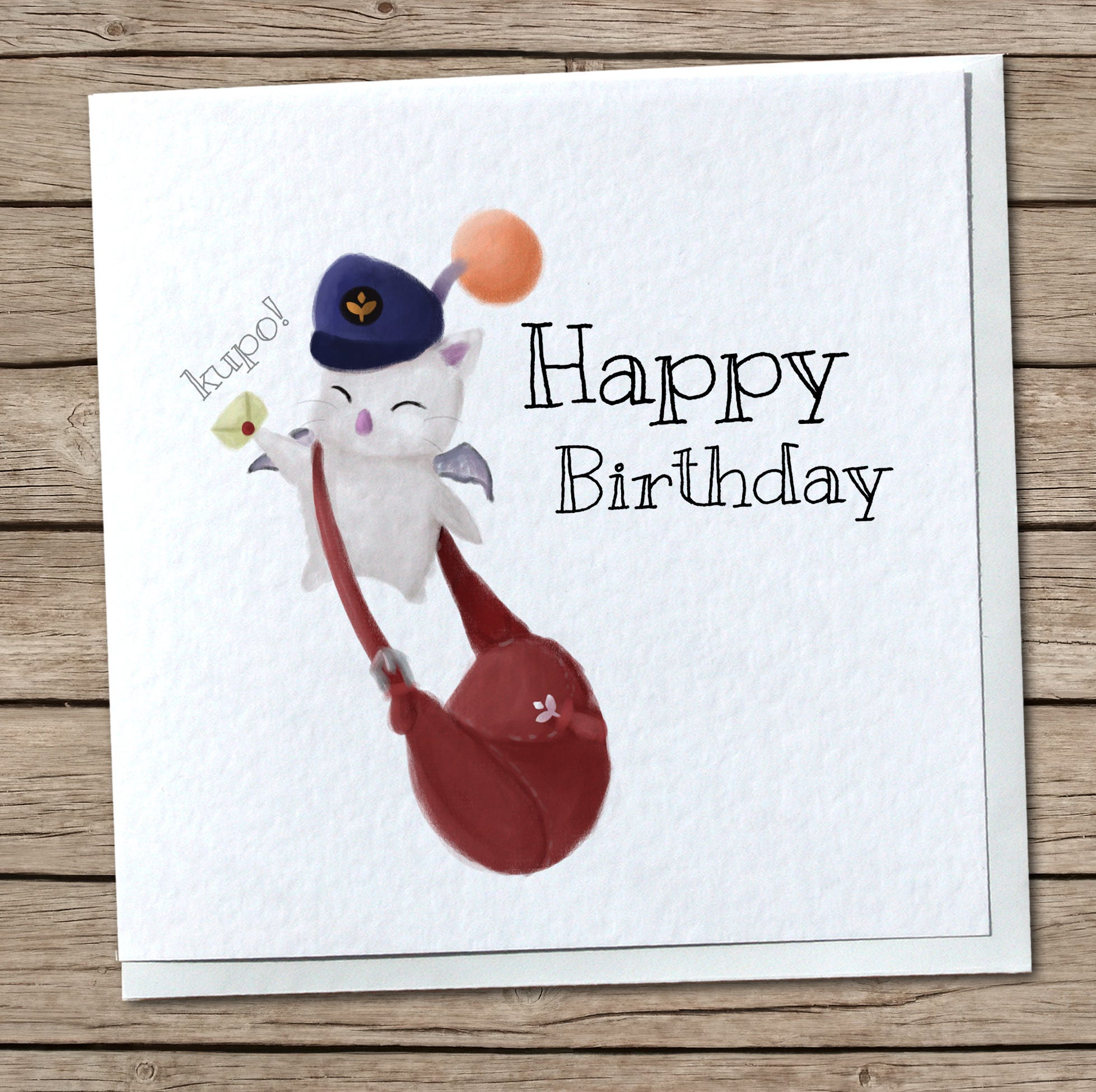 Delivery Moogle Birthday Card Final Fantasy Themed