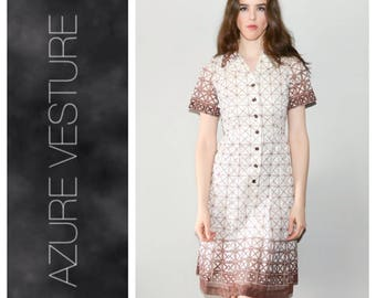 1950s, Day Dress. 50s Chocolate Brown, White Geometric Print, Dress. xs  small