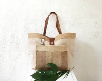 TOTE bag-blend canvas and leather handle/burlap canvas