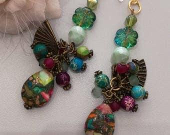 bronze earrings, Jasper and fan
