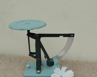 French vintage scales, 1950/60's, Postal Scales, Scales, Letter Balance, Weigh Scale, enamel, turquoise, retail, office, kitchen, bathroom