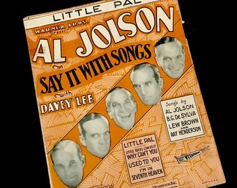 Al Jolson 1929 Sheet Music/Art: Little Pal   GC2781