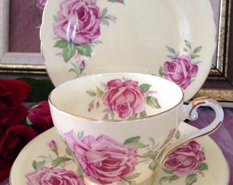 Aynsley vintage china tea cup trio, cream with big pink roses.
