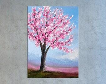Cherry blossom painting, Palette knife art, Tree painting, Floral art, Oil painting, Abstract art, Impasto art, Textured art, Modern art