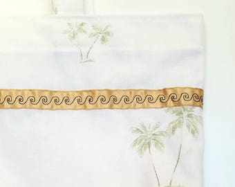 Reusable Shopping Bag Tote Bag | Palm Trees | Upcycled Repurposed Fabric | Cloth Market Grocery Bag