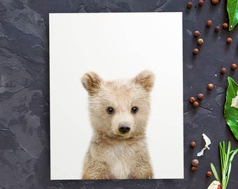 Woodland prints bear, Nursery decor DIY, Woodland creatures, The Crown Prints, Woodland bear print, Baby animal prints, Forest animal print