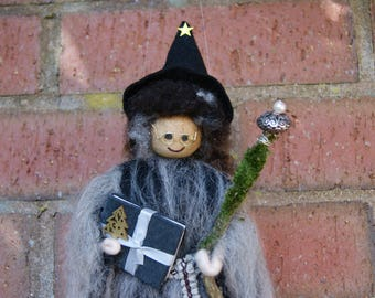 Tillie - Wool Felt Witch. Wool Felt Fairy. Magical Being. Woodland Creature. Magic Spells. Pagan Doll. Wiccan Doll. Fairy