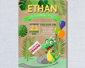 Dragon Birthday Invitation for Kids Birthday Party, Printable Invite for Birthday Decoration DIGITAL FILE  2
