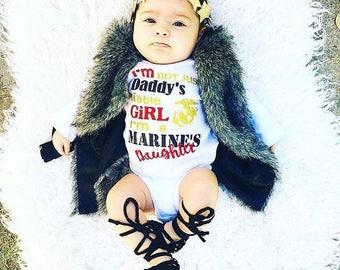 Marine's daughter, marine onesie, marine shirt, onesie, daddy's daughter, baby girl, toddler shirt, marine proud, USMC shirt, USMC bodysuit