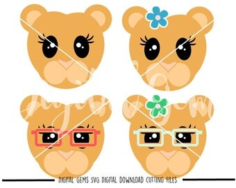 Lioness faces svg / dxf / eps / png files. Digital download. Compatible with Cricut and Silhouette machines. Small commercial use ok.