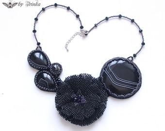 Bib necklace, natural black agate, swarovski crystal