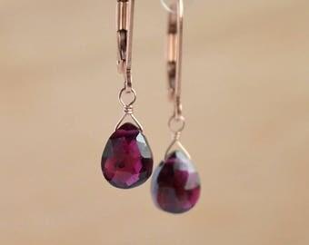 Rhodolite Garnet Earrings, Red January Birthstone Earrings, Dangle Drop Earrings Leverback Earrings: 14K Rose Gold Filled Sterling Silver