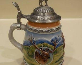 Gerz ceramic stein w pewter lid and raised elk West Germany beer stein w pewter lid and elk Fathers Day Stein